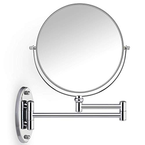 (Miusco 10X Magnifying Two Sided Wall Mount Makeup Mirror, 8 inch, Round, Chrome)