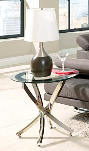 Norwood End Table with Tempered Glass Top Chrome and Clear