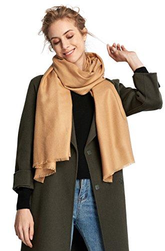 RIONA Women's Soild Basolan Wool Scarf - Super Soft Fashion Lightweight Neckwear for Spring & Fall(Camel) by RIONA (Image #4)