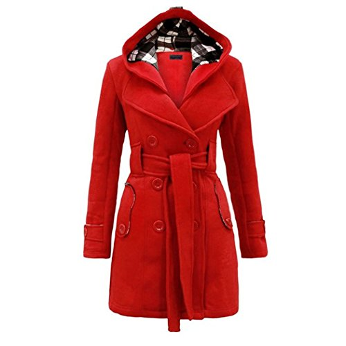 Raylans Women's Plus Size Check Hood Long Duffle Coat Belted Jacket -