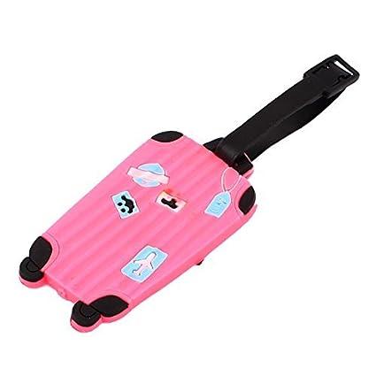 eDealMax Plástico Suave Mensaje de Dirección del equipaje Maleta Holder Etiqueta Fucsia