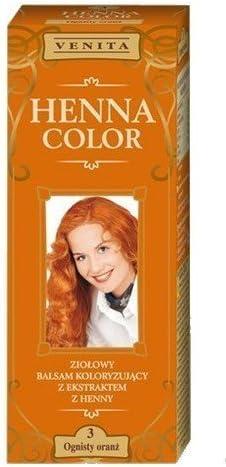 Henna Color 3 Llameante Naranja Bálsamo Capilar Tinte Para Cabello Efecto De Color Tinte De Pelo Natural Gallina Eco