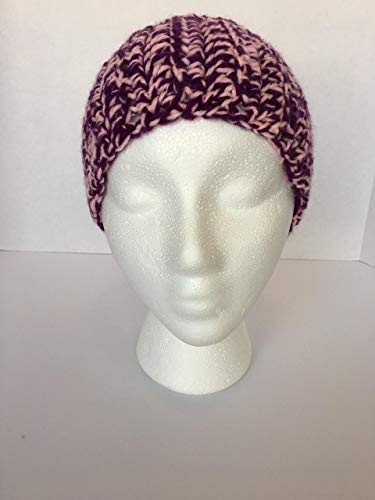 New Handmade Crocheted Purple and Pink, Women's Thick Winter Headband, with Elastic for Stretch, with a Ribbed Look