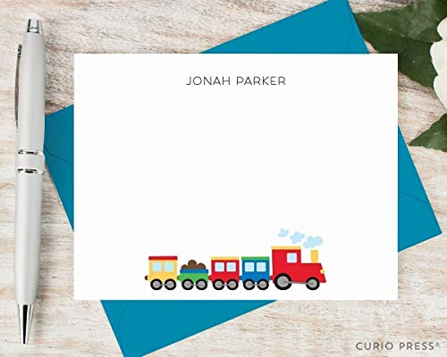 - COLORING TRAIN - Personalized Flat Kid Stationery/Stationary Notecard Set
