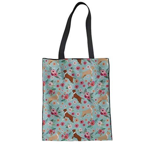Pit Bull Handbag - SANNOVO Canvas Tote Bag Women Pit Bull Flower Handbag Travel Beach Shoulder Bags