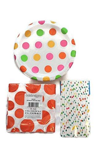Orange Polka Dot Party Bundle: Sixteen Paper Straws - Polka Dot Paper Plates Orange
