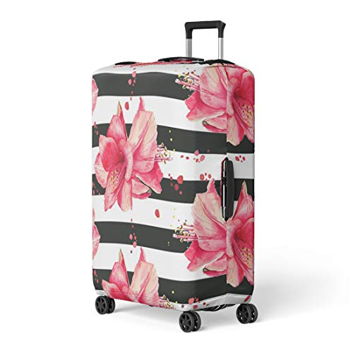Pinbeam Luggage Cover Purple Watercolor Pattern Red Amaryllis Flowers Striped Black Travel Suitcase Cover Protector Baggage Case Fits 22-24 inches