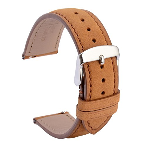 WOCCI 20mm Quick Release Watch Bands Brown Suede Leather Watch Belt Straps with Silver Metal Pins Buckle