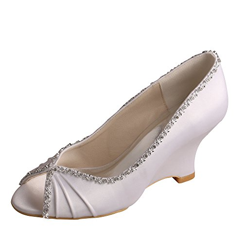 Wedopus MW292 Women Wedges Heel Peep Toe Pumps Pleated Satin Wedding Evening Dress Shoes Size 8 White