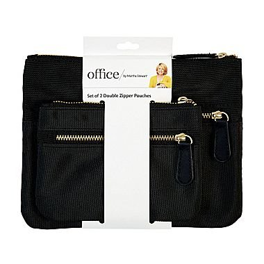 Office by Martha Stewart, Double Zipper Pouches, Black, 2/Pack (50389)