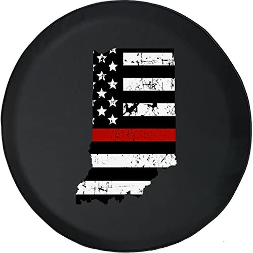 556 Gear Indiana - Thin Red Line Distressed American Flag Jeep RV Spare Tire Cover Black 35 in free shipping