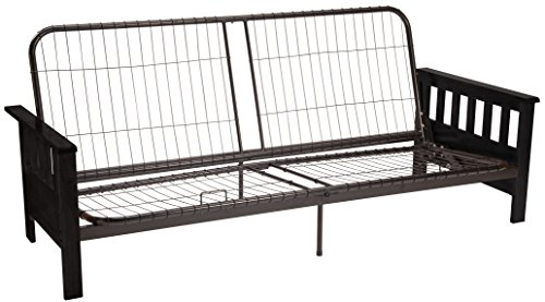 Epic Furnishings Berkeley Mission-style Futon Sofa Sleeper Bed Frame, Full-size, Black Arm Finish (Sleeper Sofa Mission)