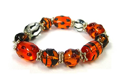 Linpeng Fiona Hand Painted Glass Beads Stretch Bracelet, ...