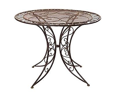 Gartentisch Eisen.Nostalgie Tisch Gartentisch Bistrotisch Eisen 13kg Antik Stil 100cm Braun