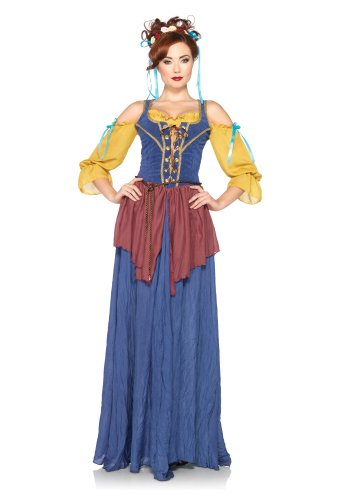 Avenue Lace Up Costume (Leg Avenue Women's 2 Piece Tavern Maid Costume, Blue, Large)