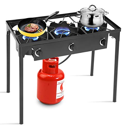 Goplus Outdoor Stove Portable Propane Gas Cooker Iron Cast Patio Burner w/Detachable Legs for Camp Cooking (3-Burner -