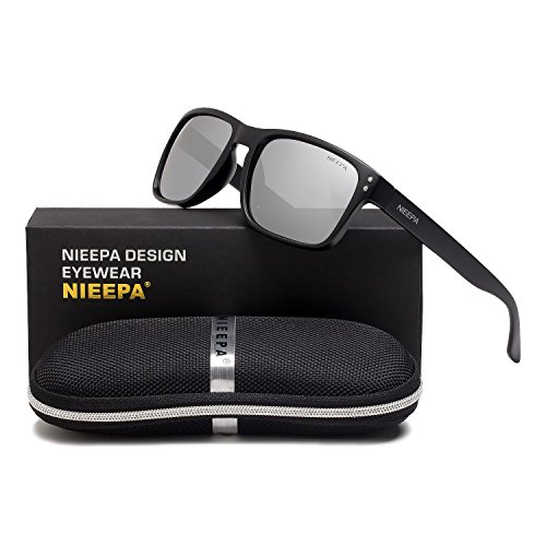 Square Polarized Wayfarer Sunglasses Retro Classic Stylish Brand Design Sports Sun Glasses for Men Women Vintage Driving Fishing 100% UV Protection Glasses (Silver Lens/Matte Black - Brands Fishing Polarized Sunglasses