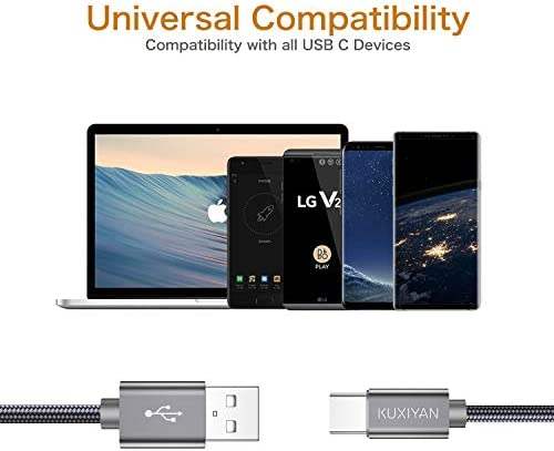 Short USB C Cable,(0.5ft 2-Pack) USB Type C Charger Nylon Braided Fast Charging Cord Compatible Samsung Galaxy S10+ S9 S8 Plus,Note 9 8,LG G6 G7 V35,Pixel 2 XL,15cm Perfect Size for Power Bank(Grey)