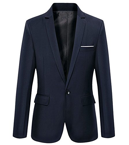 Mens Slim Fit Casual One Button Blazer Jacket (L, Navy)