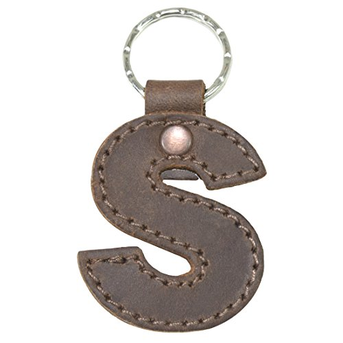 - Thick Leather Alphabet Letter Keychains Handmade by Hide & Drink :: Bourbon Brown (S)