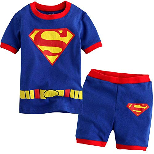 Iron Man,Superman Pajamas Children Clothes Set Little Kids Short Sleeve Sleepwear 2-7 Years Boys Pjs,Superman-110(5T) ()