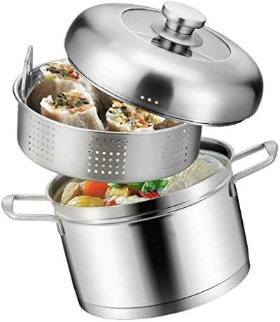 YWSZJ Vapeur en Acier Inoxydable Set Sauce Pot et Steamer avec Couvercle en Verre au Lave-Vaisselle