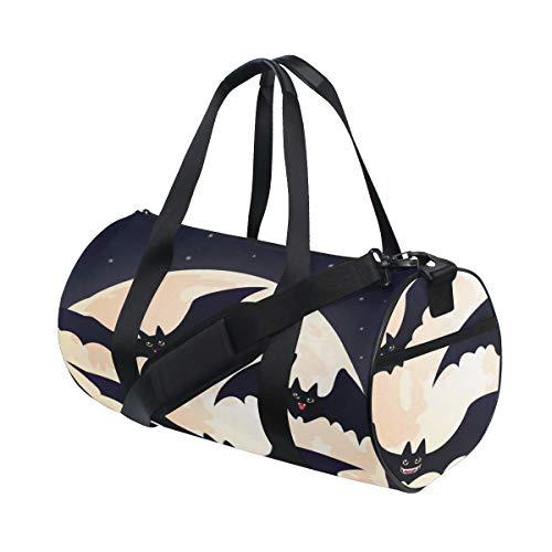 Halloween Orange Scary Eye Flying Bat Custom Multi Lightweight Large Yoga Gym Totes Handbag Travel Canvas Duffel Bags With Shoulder Crossbody Fitness Sports Luggage For Boys Girls Mens Womens ()