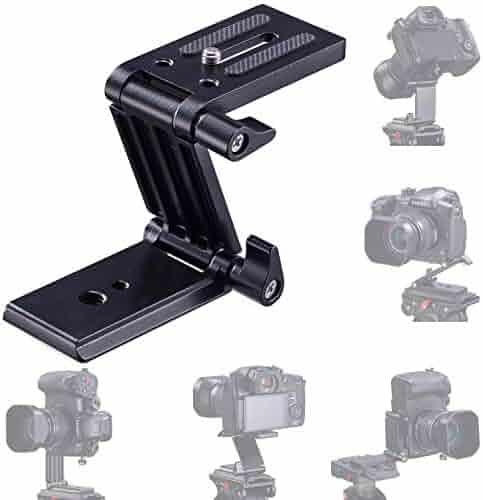 RAINBEAN Z Flex Tilt Tripod Head Alloy Folding Z Tilt Head Quick Release Plate Stand Holder for DSLR Compatible Slide Rail Camera Camcorder Tripod with Spirit Level for Canon Nikon Sony Pentax-Blue