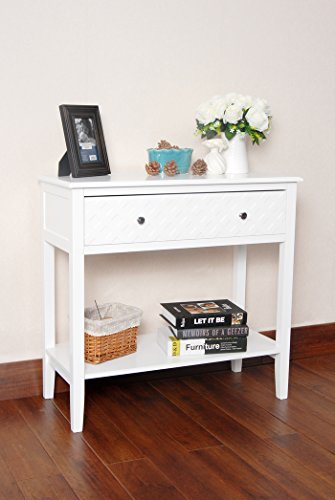 White Finish Pattern Design Console Sofa Entry Table with Shelf / Drawer by eHomeProducts