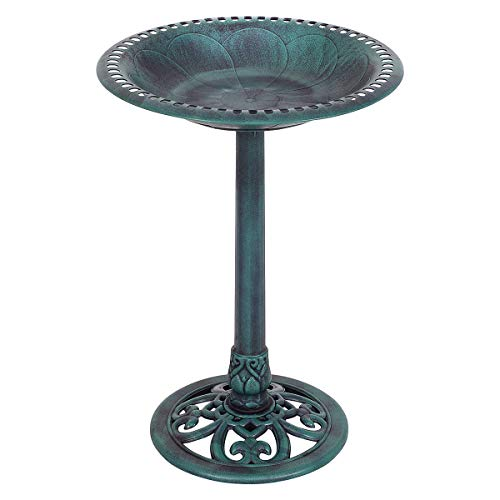 Giantex Pedestal Bird Bath Feeder Freestanding Outdoor Garden Yard Patio Decor (Green)