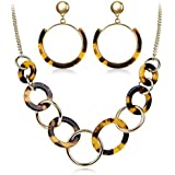 LCZTN Womens Resin Earring and Necklace Set for...