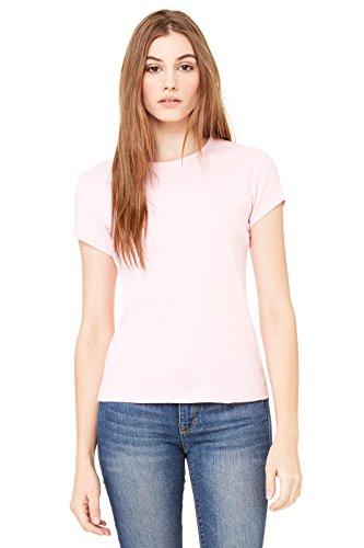 Bella Kurzärmliges Damen RundhalsTShirt aus BabyRippstrick, rosa, L rosa L