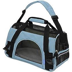 Oxgord Transportadora De Mano Maleta Bolsa Tela Perro Gato Mediano y Chico (Chica, Azul Claro)