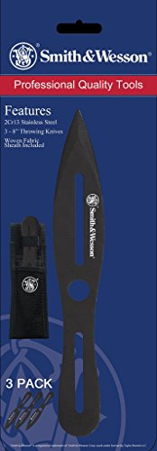 SMITH & WESSON SWTK8BCP Three 8in Stainless Steel Throwing Knives Set with Nylon Belt Sheath