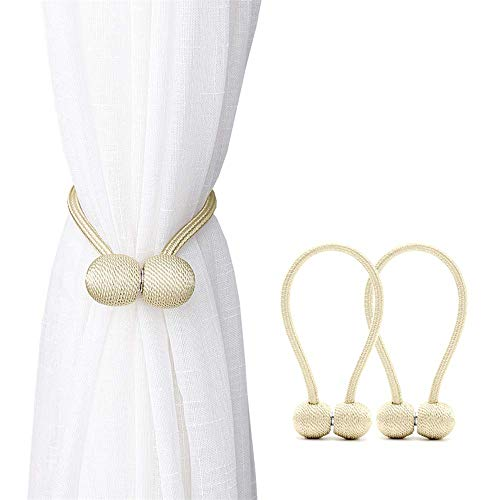 YSYDE 2 Pcs Magnetic Curtain Tiebacks,The Most Convenient Drape Tie Backs, Decorative Rope Holdback Holder, for Small Thin or Sheer Window Drapries, Beige