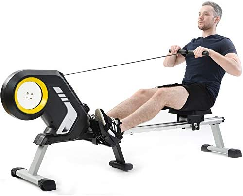 Rowing Machine for home workouts,Magnetic Resistance Rowing Machine with Foldable Design, with LCD Monitor rowing machine,8-Level Adjustable Resistance, Transport Wheels, exercise equipment,Black.