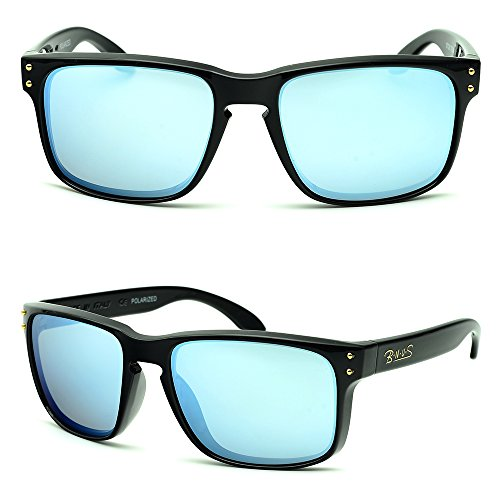 1ec3df234b0 B.N.U.S Sunglasses Shades for men women Sliver mirrored lenses Polarized ( Frame  Black