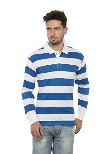 Clifton Mens Bold Stripes Full Sleeve Collar Polo T-Shirt-Royal Blue-M