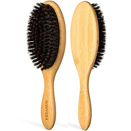 Boar Bristle Hair Brush Men | Mens Brush Hair Brushes for Women | Pure Boars Hair Brushes for Women Mens | Oval Brush | 100% Bamboo Wooden Bore Pro Eco Hairbrush for Thin Natural Soft Fine Hair (Bristles Hair Brushes Soft)