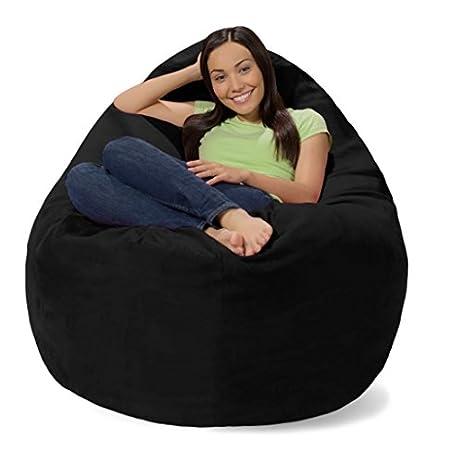 Comfy Sacks Huge Pillow Memory Foam Bean Bag Chair Black Micro Suede