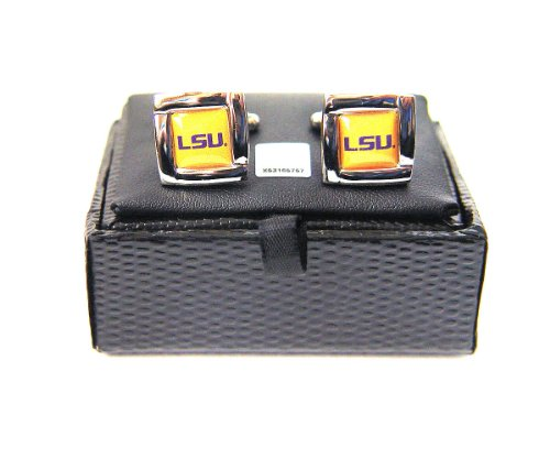 NCAA LSU Tigers Square Cuff Links, Team Color, 4 ()
