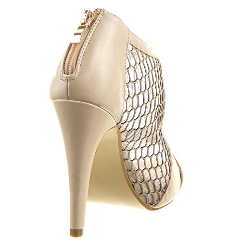 Sopily - Scarpe da Moda scarpe decollete sandali Stiletto Low boots alla caviglia donna fishnet Tacco Stiletto tacco alto 11.5 CM - Beige