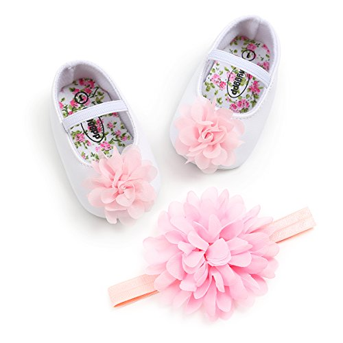 Kuner Toddler Baby Girls Shoes Soft Soled Wedding Shoes Ballerina Girls Lace Flower Shoes with Bow Ribbon 11cm(0-6months),Pink by Kuner