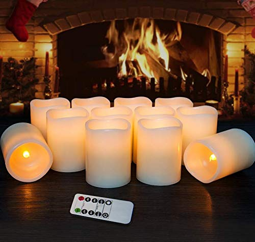 Flameless Candles LED Candles Set of 12 (D:3'' X H:4'') Battery Operated Candles Flickering Bulb Pillar Ivory Real Wax Electric Candles with Remote and Timer for Home Christmas Decoration
