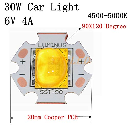 TOLOVI New 1pcs 30W Cree Xlamp 6V Car Light LED Chip Emitter Instead of XHP70 SST-90 LED Neutral White 4500-5000K with 20MM Copper PCB New Product