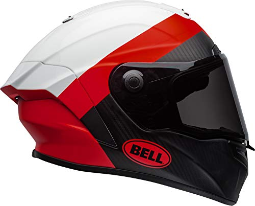 Bell Race Star DLX Full-Face Motorcycle Helmet (Surge Matte/Gloss White/Red, Medium)