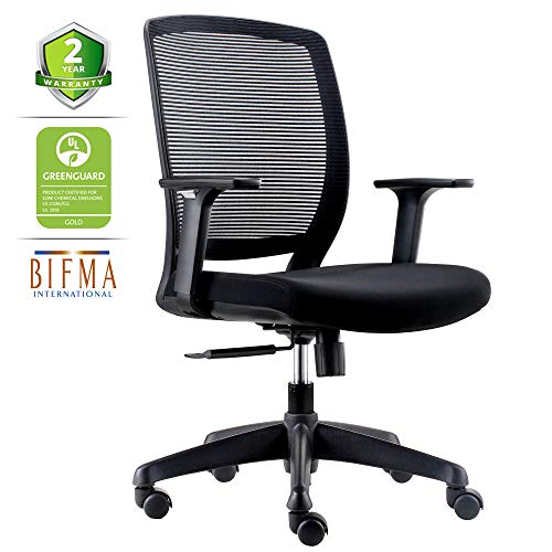 CHAIRLIN Ergonomic Office Chair Comfortable Desk Chair Lumbar Support Task Chair Mesh Back with Armrest Black