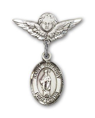 Sterling Silver Baby Badge with St. Gregory the Great Charm and Angel with Wings Badge Pin