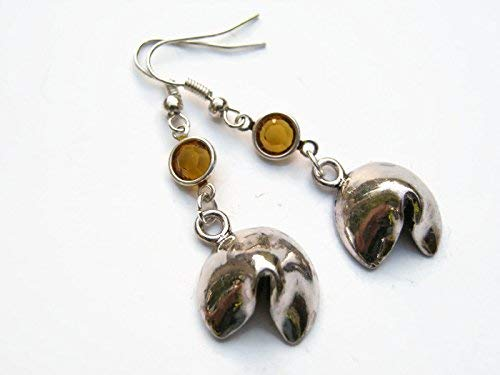 Fortune Cookie Birthstone Earrings, Personalized Cookie Earrings, Foodie Earrings, Chinese Take Out Charm Jewelry