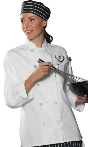 Ed Garments Women's Ten Button Chef Coat, WHITE, Large. 6301 by Edwards Garment